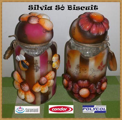 SILVIA SÓ BISCUIT:  POTES COM FLORES  Material utilizado para confe...