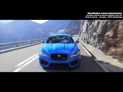 Aggressive Driving and Drifting New Jaguar 2014 XFR-S Geneva Motor Show. SBARTSTV Global News.