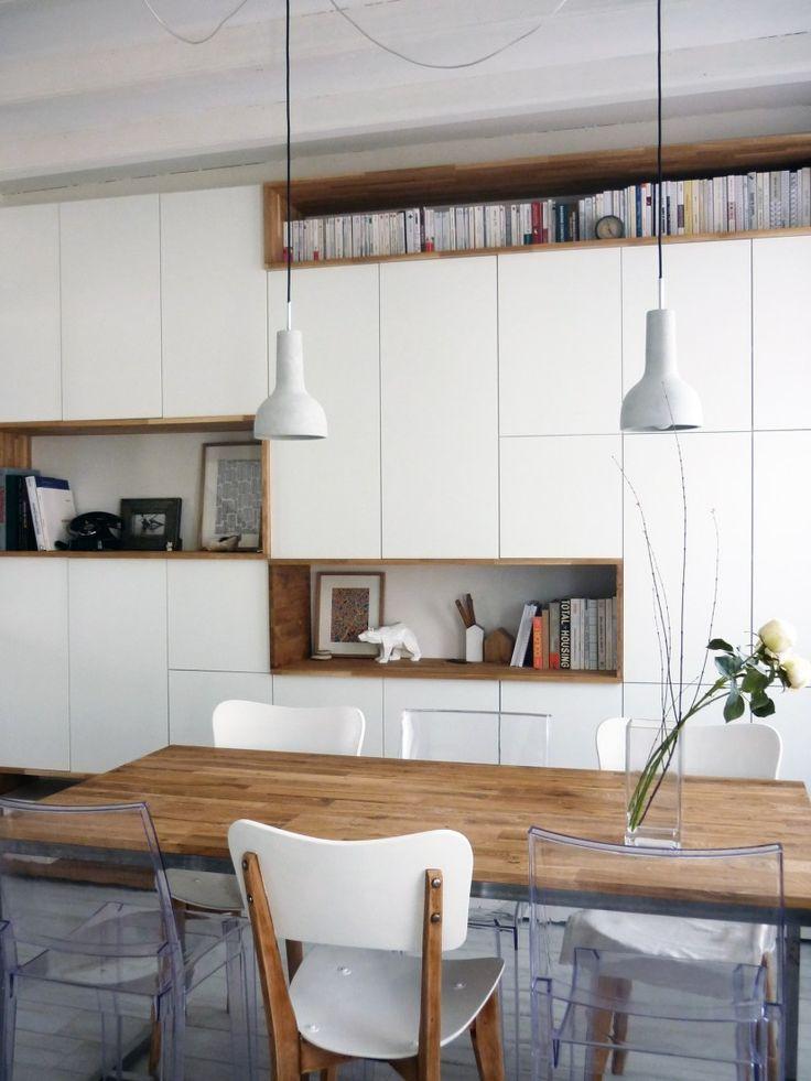 Mur rangements blanc bois scandinave entr e val tho meuble rangement salon rangement s jour - Rangement placard mural ...