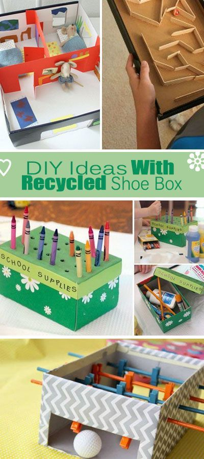 DIY Ideas With Recycled Shoe Box. Tons of ideas and tutorials you must try. Such as mobile phone projector, marble run, mini foosball table and etc.