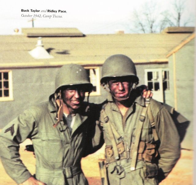 """Amos """"Buck"""" Taylor and Ridley Pace, Camp Toccao October 1942"""
