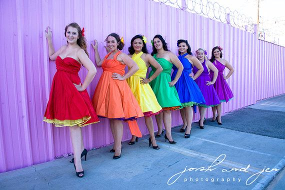 Love the idea of rainbow, retro, convertible bridesmaid dresses with funky petticoats, but these are expensive...and probably not flattering on everyone.