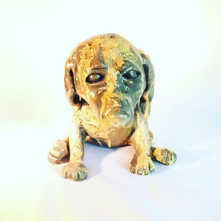 Dudley Sculpture - Yellow Lab - ceramic sculpture - hand built - one of a kind - Junkyard Dog by TheMuddyPotter on Etsy