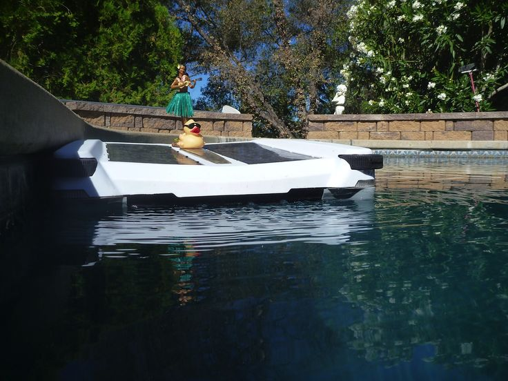 Lady and duck hitch-hiking on a #Solar-Breeze solar-powered 3-in-1 pool cleaner.
