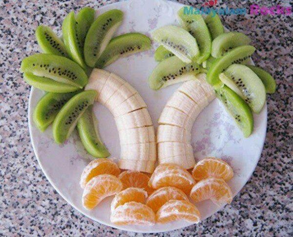 Beach Side Theme Salad Decoration - Do it on a Blue Plate for illusion of Sky & 28 best Art of fruitsu0026vegitables images on Pinterest | Creativity ...