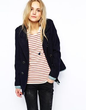 Image 1 of Maison Scotch Wool Pea Coat with Denim Cuffs