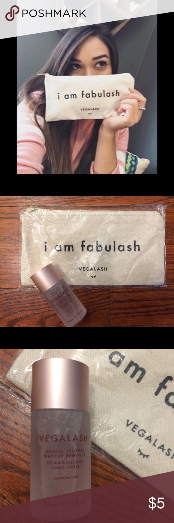 "Vegalash Bundle • Bag Makeup Remover Hair Elastic One ounce sample of Vegalash oil free makeup remover and ""I am fabulash"" makeup bag. Vegamour cancer couch foundation hair elastic. Sephora Accessories"