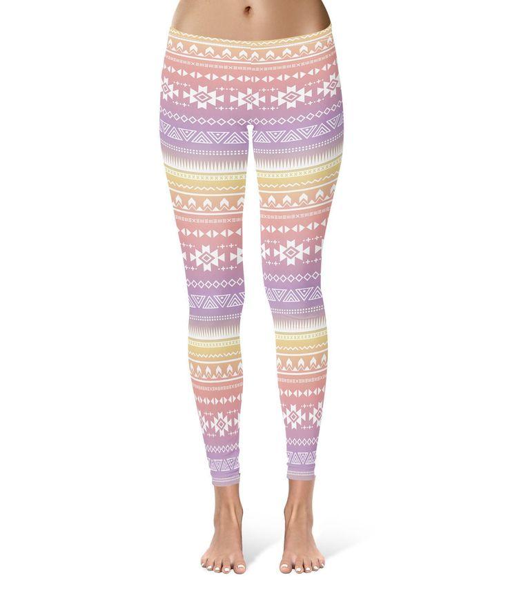 Aztec Tribal Ombre Leggings For Women Sizes Xs-3Xl Lycra Gym Yoga Full Length