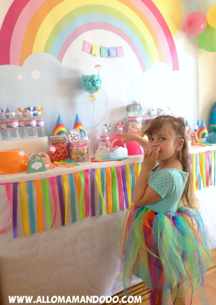 rainbow birthday girl table router d'anniversaire arc-en-ciel