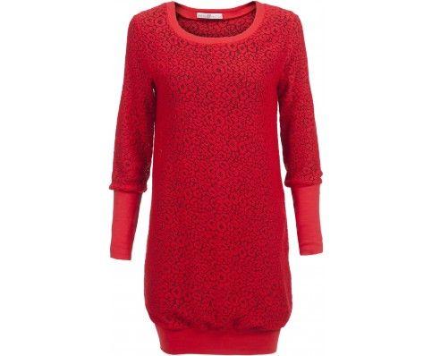 Dressfactor O-line jurk wollen kant rood