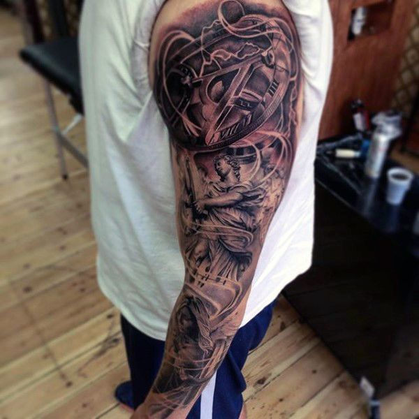 Wonderful Black And Grey Tattoo Male Full Sleeves