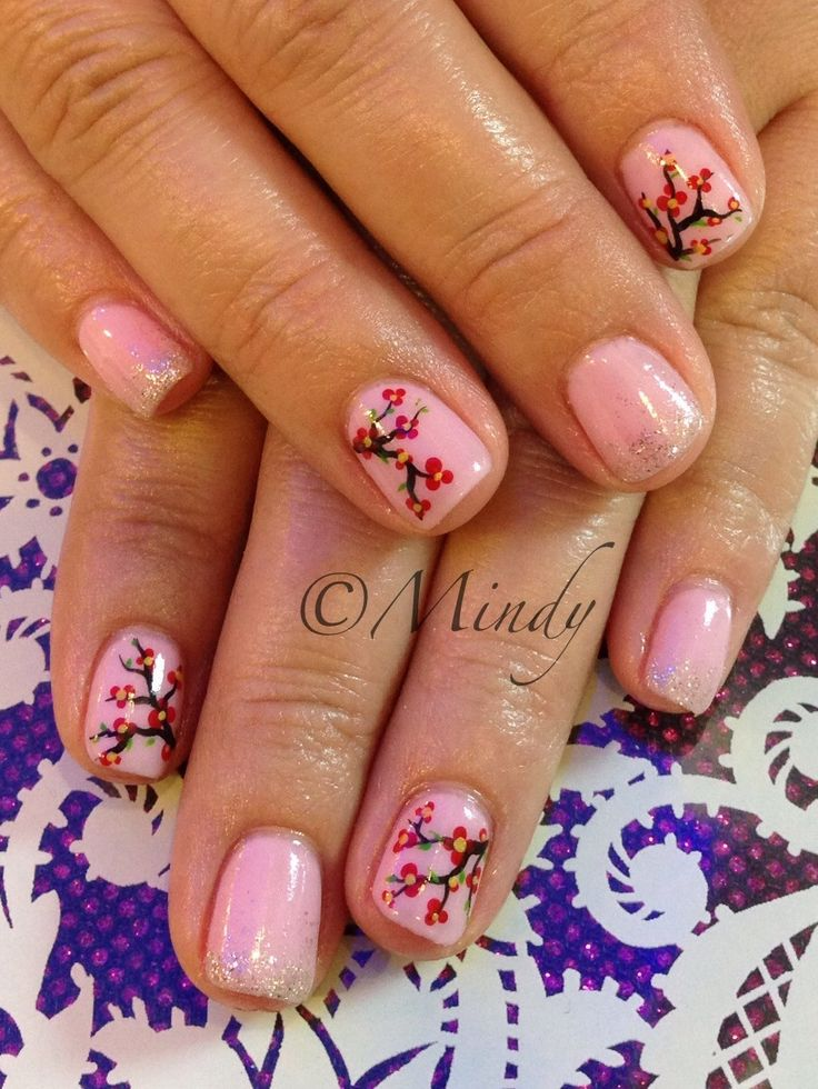Chinese New Year nail art Pink gel polish with cherry