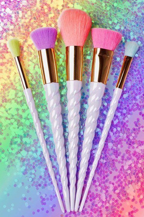 Unicorn creative still life I shot for boohoo.com #unicorn #makeup brushes #kawaii #rainbow #stilllife