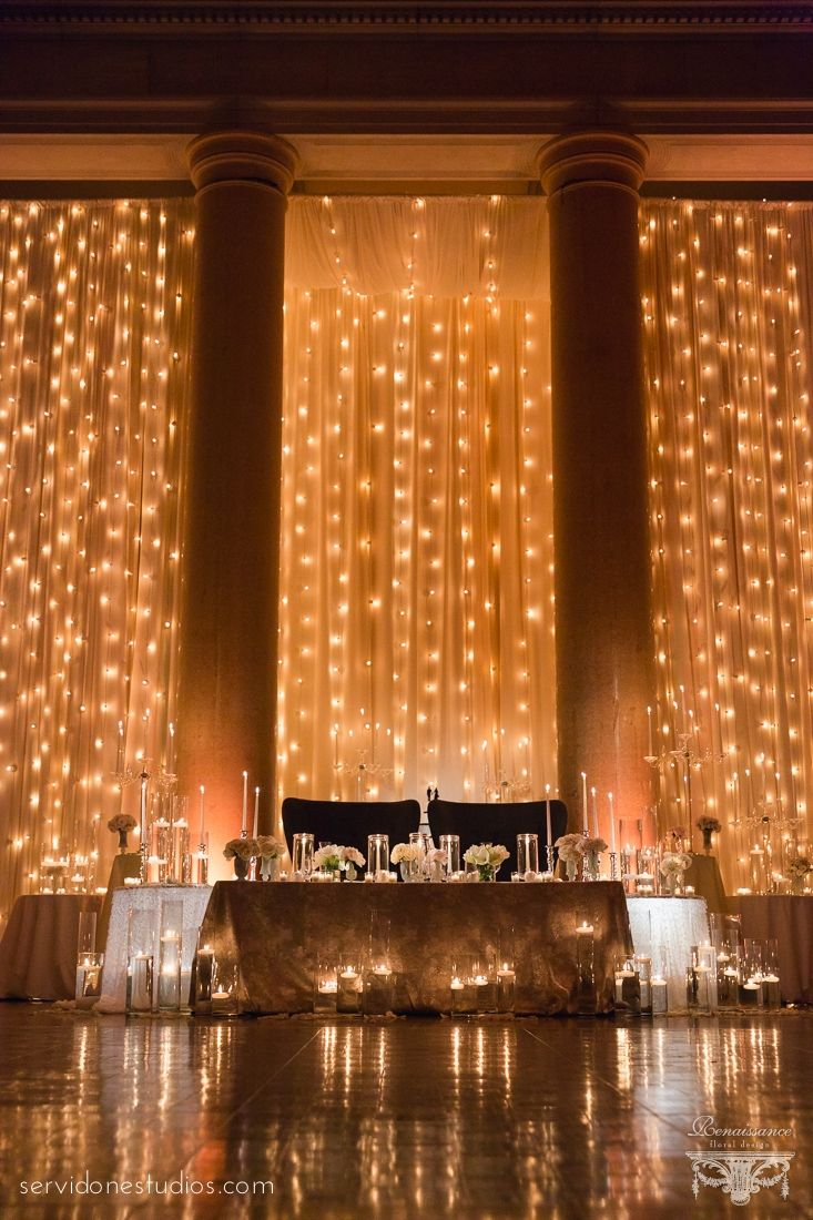 Curtain lights for weddings - Kelly Craig Hall Of Springs Wedding Fall Renaissance Floral Design