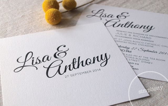 Simplicity Wedding Invitation from Alannah Rose Stationery #wedding #invitations #weddinginvitations #simple #elegant #classy #blackandwhite