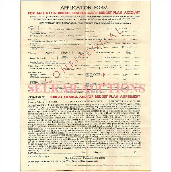 1950's 1960's vintage T. Eaton's Canada Order Form Charge Account Application on eBid Canada