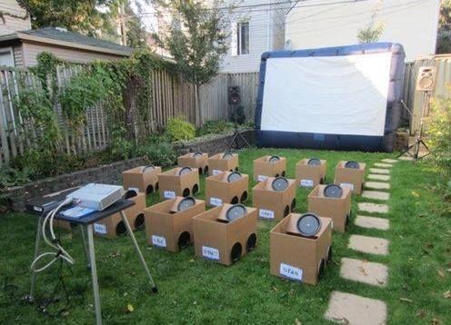 Backyard drive in movie for kids