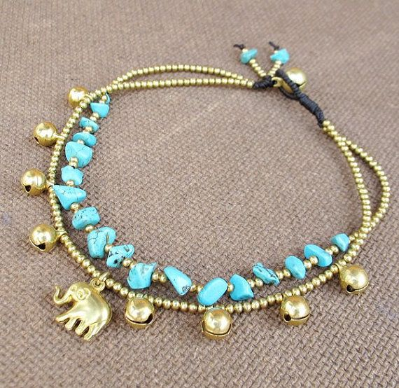 2 Strand Turquoise Stone Brass Bead Ankle Bracelet added Elephant Charm