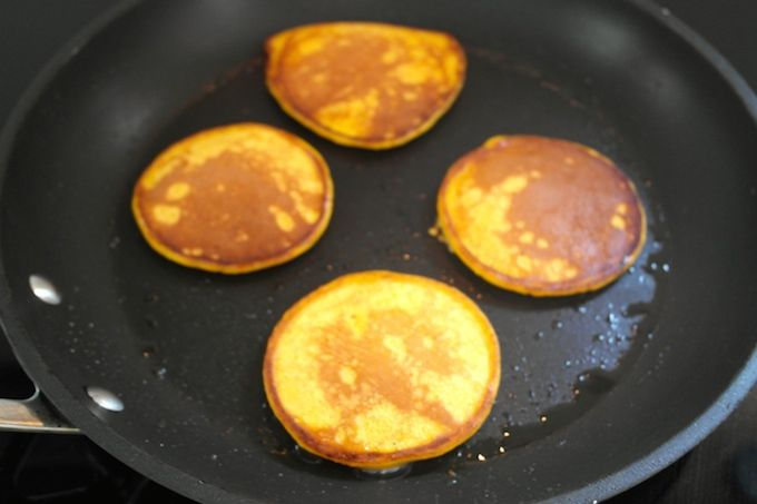 Pumpkin pancakes - great way to recycle leftover baked pumpkin! www.FoodFamily.net