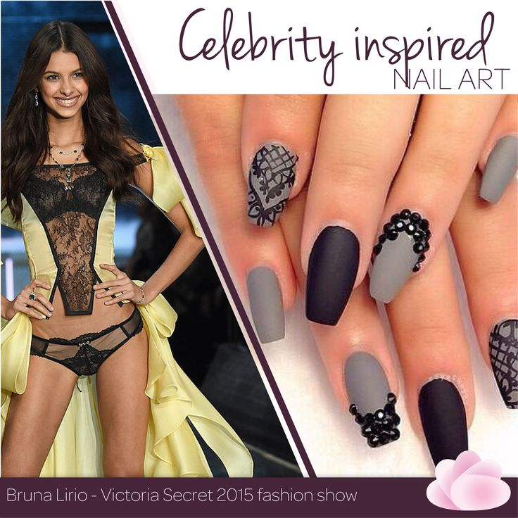 Feeling sexy? Bruna Lirio's outfit on the runway inspired us to act all sexy as we know it with these black and grey colours with rhinestones and lace art. ‪#‎InspiredNailArt‬ ‪#‎VictoriaSecret‬ Which style of nails would you choose?
