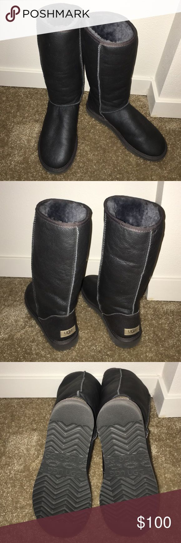 ... ugg classic tall metallic grey boot used womens metallic grey ugg classic tall boot. great