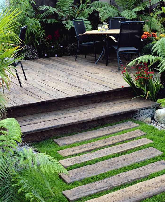 First Steps in Garden Design, landscape design, landscape architecture, stairs, walkway, deck, backyard patio, back porch