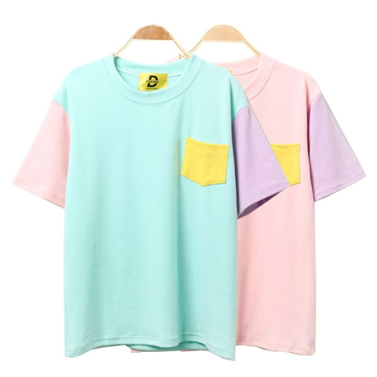 Fashion Trend Patchwork T-Shirts Kawaii Solid Color