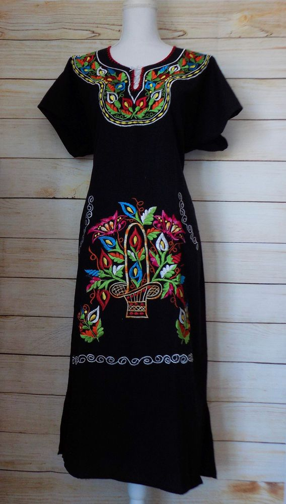 4b9866e8b842f Details about Women Large Embroidered Dress Black Mexican Cotton ...