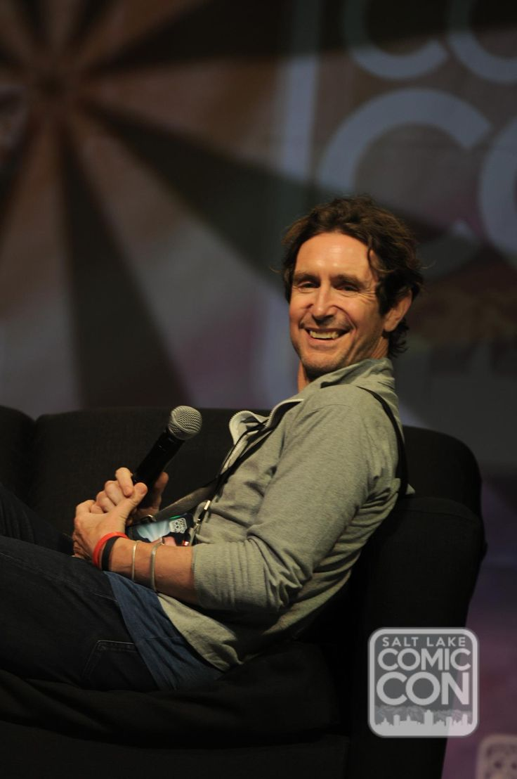 Paul McGann on stage at his Salt Lake City Comic Con 2014 panel. I cannot believe this is from this year. He looks GREAT! <3 <3 #HelloHandsome