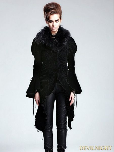 Black Vintage Velvet Gothic Jacket with Detachable Fur Collar - Devilnight.co.uk