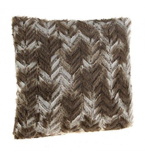 SYNTHETIC FUR FILLING CUSHION  IN BROWN COLOR 40Χ40