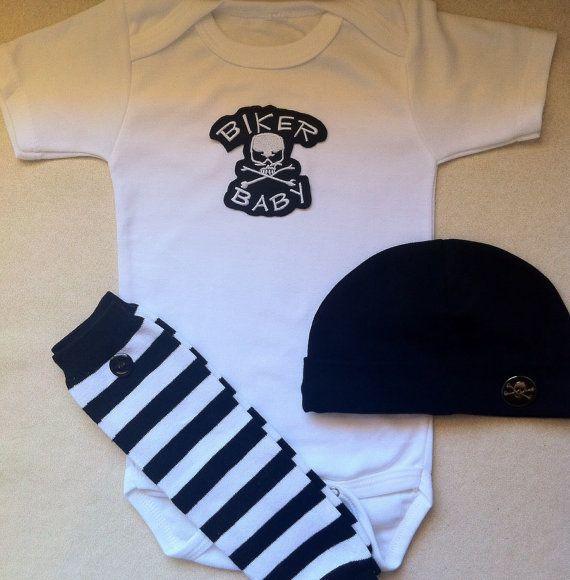Biker Baby Boy or Girl Biker Outfit w Legwarmers w by solcreator, $34.00