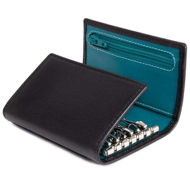 Sterling Turquoise 6 Hook Key Case / Sterling 6 Hook Key Case / For Her / Leather Accessories / Home - Ettinger London e-shop - Luxury Leather Wallets made in England