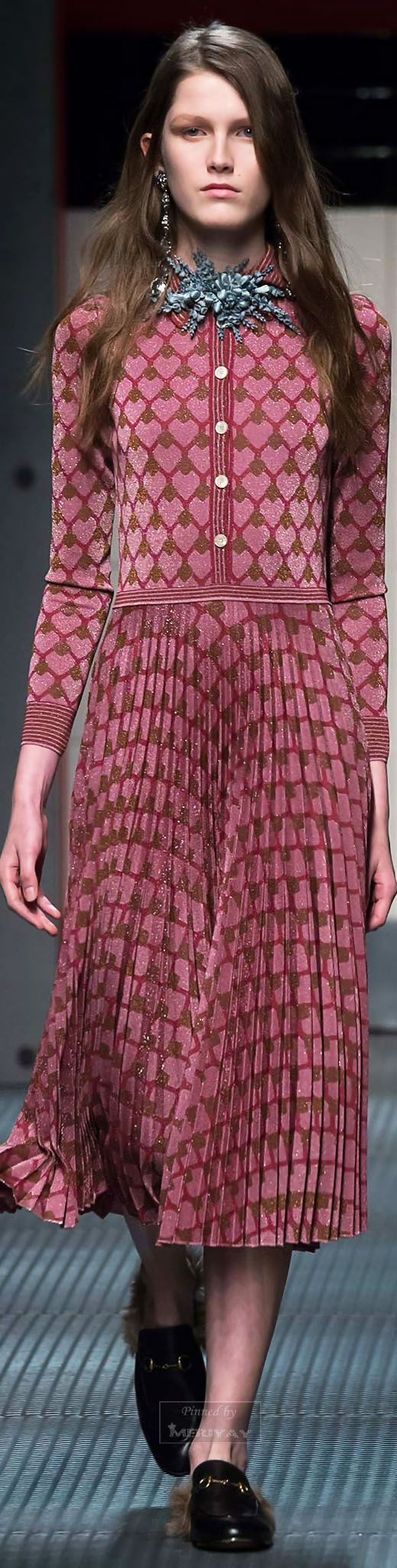 Gucci.Fall 2015. Hearts patterns, statement brooche, chandelier earrings, messy long hair, pink hearts ...