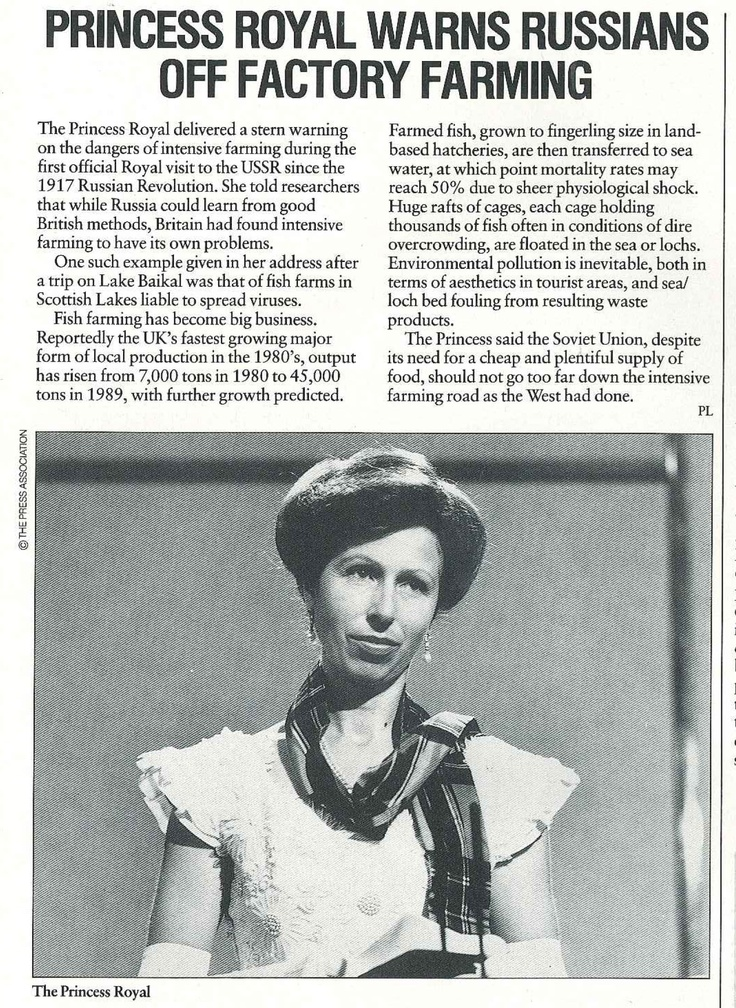 The Princess Royal warns Russians of factory farming, 1990. From Compassion's Magazine AgScene.