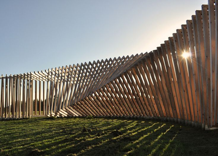 Visitors to this installation in northern Denmark by German artist Thilo Frank are invited to walk through a contorted loop of timber while listening to the sounds of their voices and footsteps played back to them