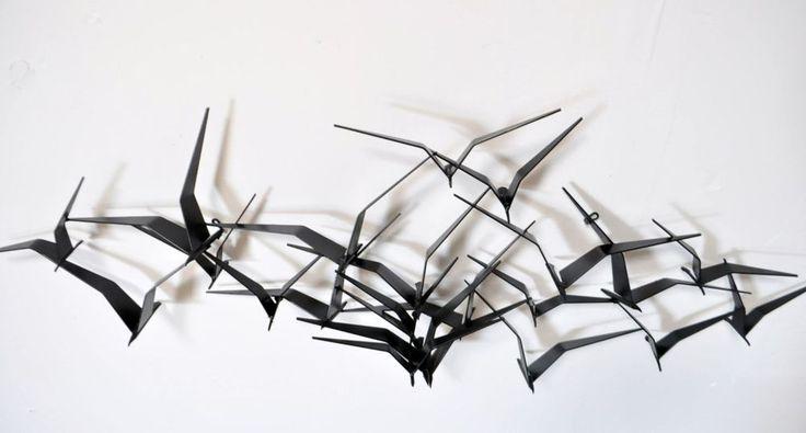 Signed C JERE Vtg Mid Century Modern Metal Birds In Flight
