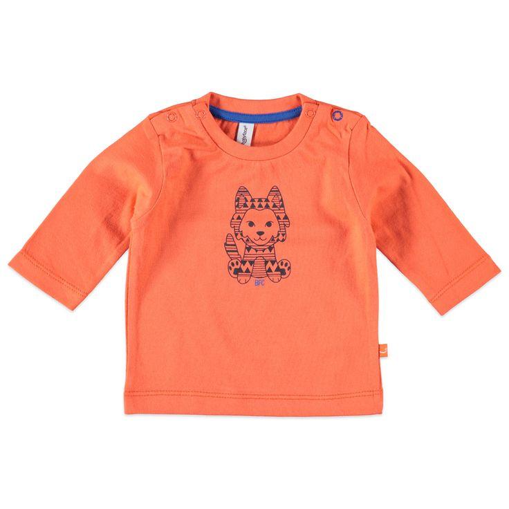 Stoer Babyface T-shirt met lange mouw voor baby jongens in de kleur oranje. Dit tricot T-shirt voor baby's, uit de Babyface winter collectie, is gemaakt van 100% katoen en verkrijgbaar in de maten 50-56 t/m 68. Bij de schouders drukknoopsluiting en op de voorkant een stoere print.  Artikelnummer: 6227641 Seizoen: winter Leverancierskleur: 35 orange  Materiaal: 100% katoen