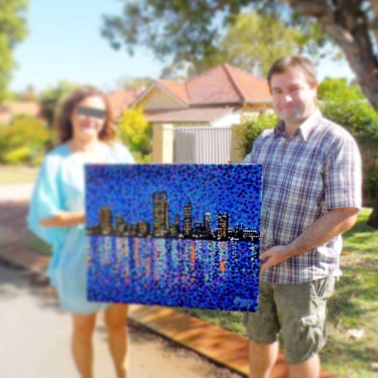 ..flashback friday! Happy buyer of this painting 'Perth Evening Blues' in Western Australia. #sold #blue #art #skyline #perthcity #perthskyline #westernaustralia #perth #cityscape #paintings #fbf #artcollective #artists #artcollector #artgallery #australia #artist #artoftheday #artonpinterest #hoganfinland #sale #artist #konst #taide #konstnär #pointillism #perthlife #iloveperth #hoganart #hogan