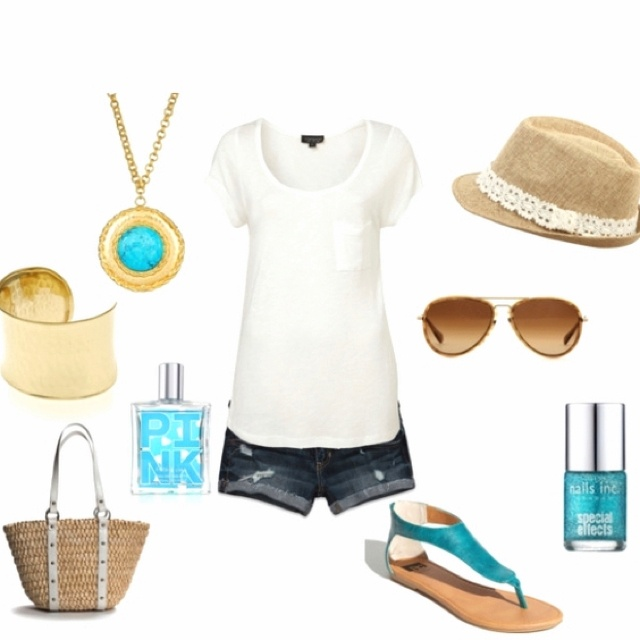 Simple. Love the turquoise sandals!