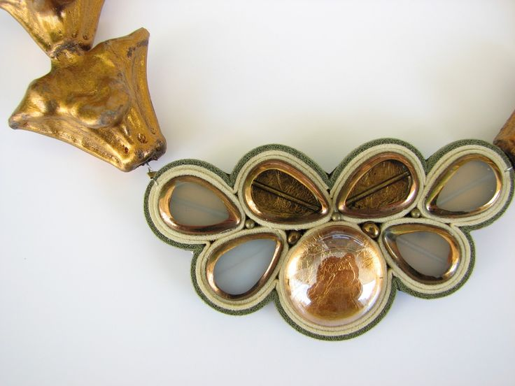 Necklace made of fresh water pearl, Trapa Natans seedsglass, natural leather, nickel-free metal and gold foil.  www.iasoltanei.ro