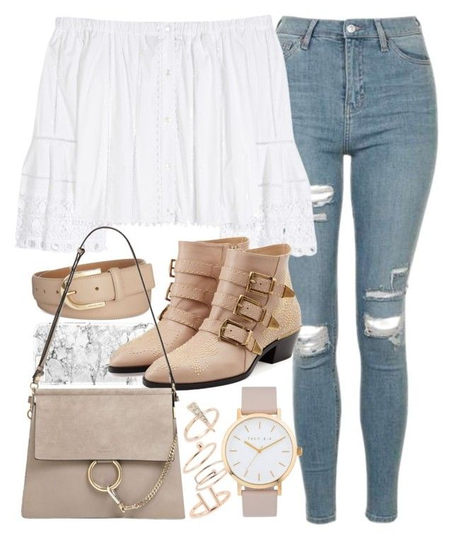 """""""Outfit for spring with an off-the-shoulder blouse"""" by ferned on Polyvore featuring Topshop, Carolina Herrera, Michael Kors, Chloé and The Horse"""