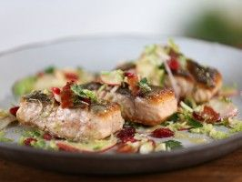 Seared Salmon and Brussels Sprout-Apple Salad with Bacon and Maple-Thyme Vinaigrette : Recipes : Cooking Channel