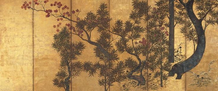 槙楓図,俵屋宗達?,17th century,Japan