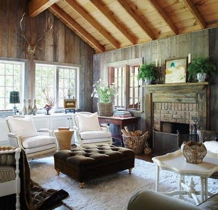 Living Room , Cozy Cottage Style Living Room Ideas : Rustic Cottage Style Living  Room Ideas With Vaulted Wooden Ceiling And Wood Paneling For Wall And ...