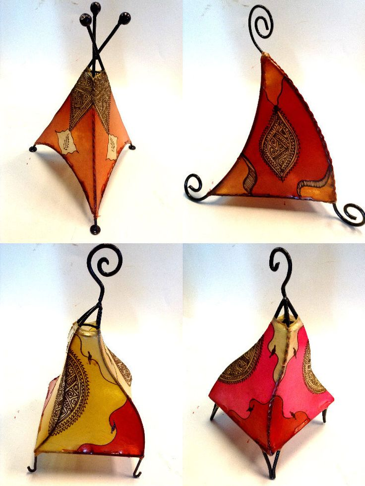 Moroccan Henna Lamp Tattooed Goat Skin & Wrougt Iron Eclectic Table Lamp Shade 4 #Handmade #Moroccan
