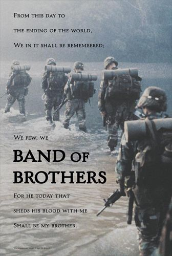 U.S. Army Infantry BAND OF BROTHERS Inspirational Poster (Shakespeare Henry V Quote)