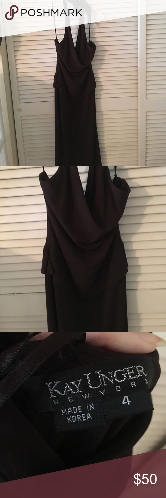 Brown silky dress Perfect going out dress! I'm 5'6 and it stops at my calves, it's a silky dress but slightly heavy and form fitting, only worn once years ago, zipper is on the side and unnoticeable (no trades) MAKE AN OFFER  Bundle to save :) No defects Calvin Klein Dresses Backless