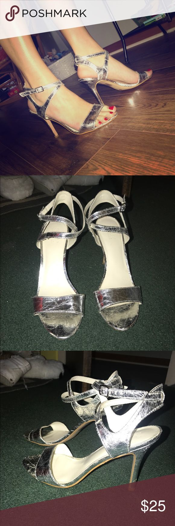 Silver Strappy Heels Textured, silver, strappy sandal-like heel. Worn to prom once, great condition! a.n.a Shoes Heels
