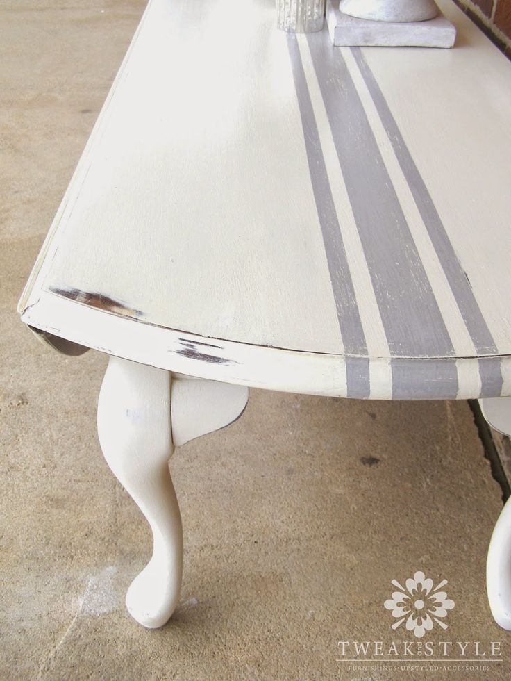 DIY:  How to Paint Grain Sack Striping on Furniture - via Annie Sloan's Chalk Paint in Paris Grey and painter's tape - via Tweak and Style Blog